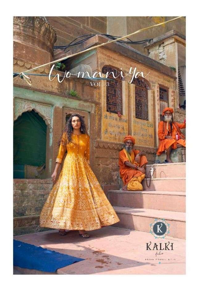Kalki Fashion Womaniya Vol 3 Rayon Gold Print Gown Collection