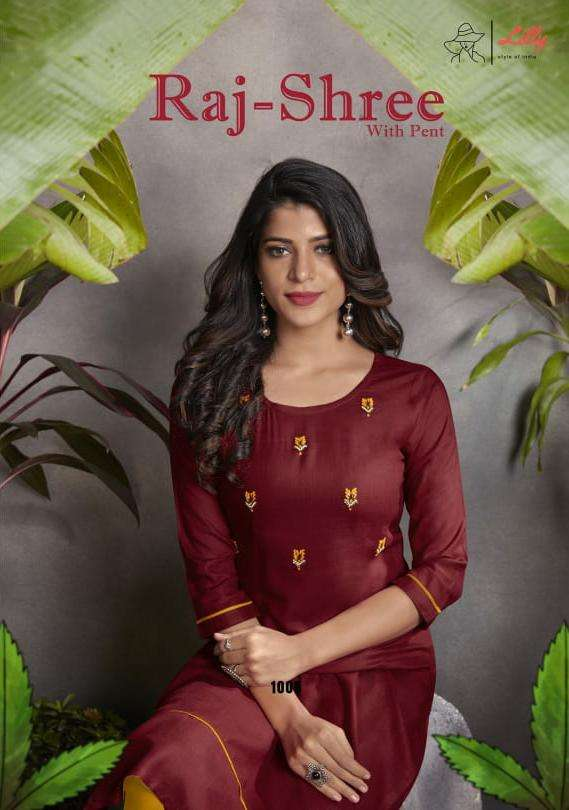 Lilly Rajshree Readymade Collection Kurti With Pent New Pattern