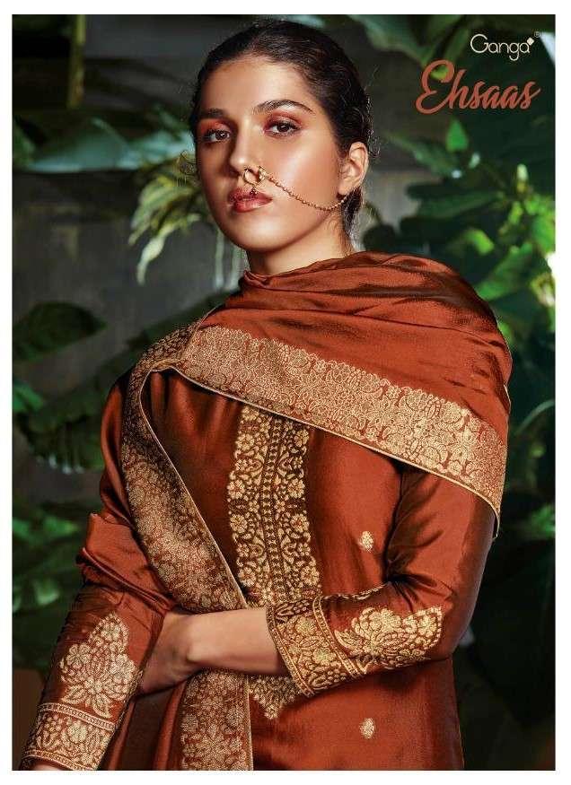 Ganga Ehsaas Designer Jacquard Silk Salwar Suit Wholesaler
