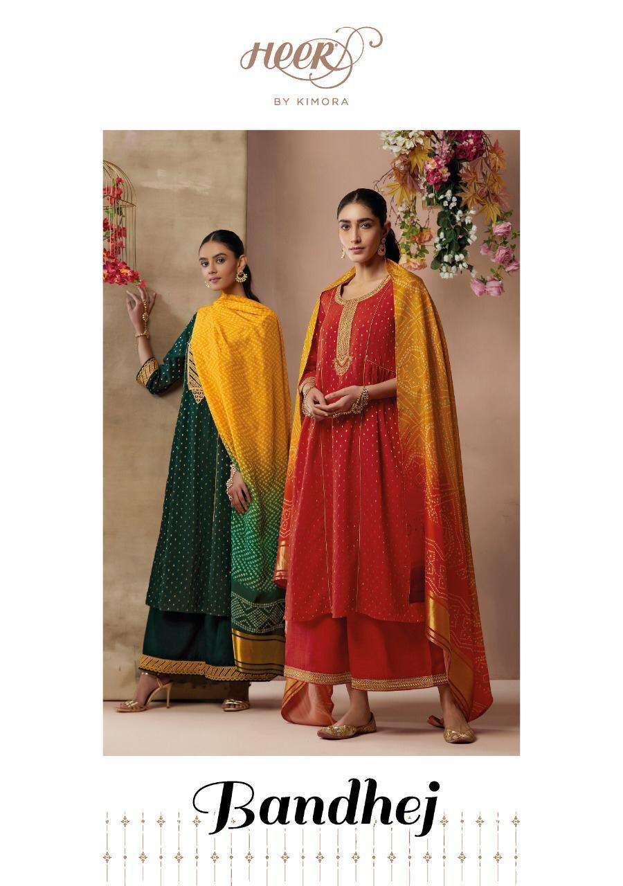 Kimora Bandhej Designer Silk Salwar Suit Catalog in Wholesale Price