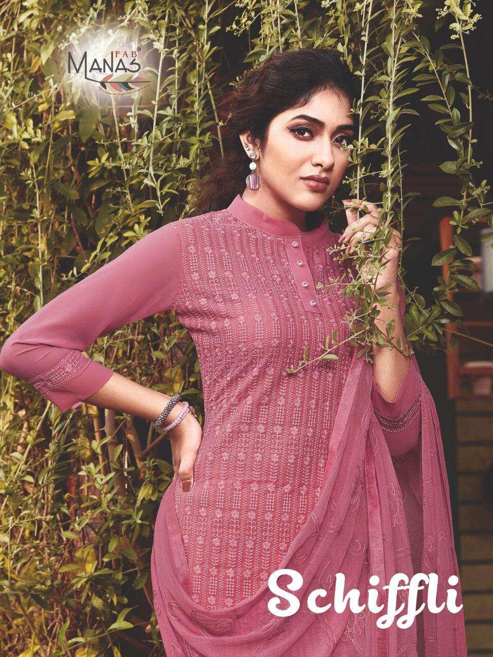 Manas Fab Schiffli Georgette Base Readymade Collection