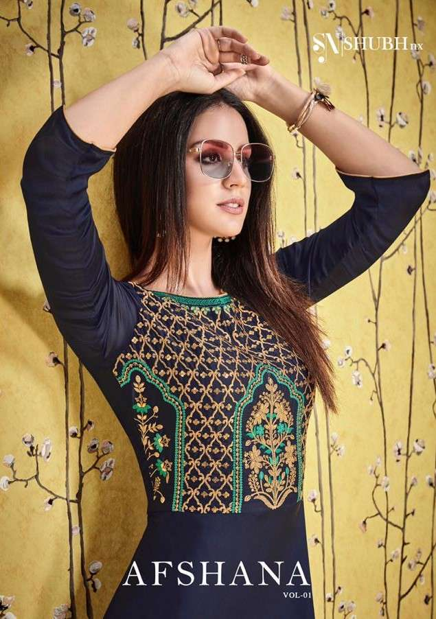 Shubh Nx Afshana Vol 1 Satin Georgette Kurti Gown