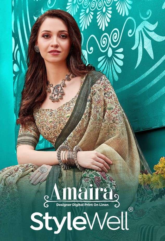 Stylewell Amaira Fancy Linen Digital Print Saree Catalog Supplier