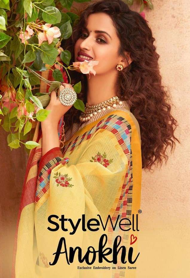 Stylewell Anokhi Exclusive Embroidery jacquard Linen Saree Catalog Wholesaler