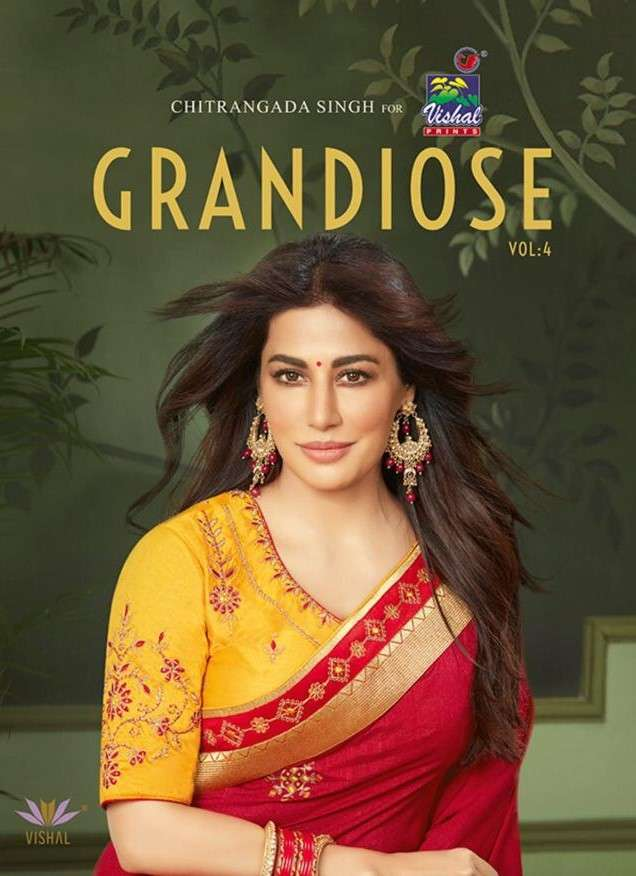 Vishal Grandiose Vol 4 Designer Work Silk Saree Collection