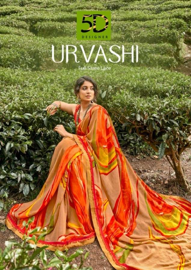 5D Designer Urvashi Printed Georgette Saree Catalog Supplier in Surat