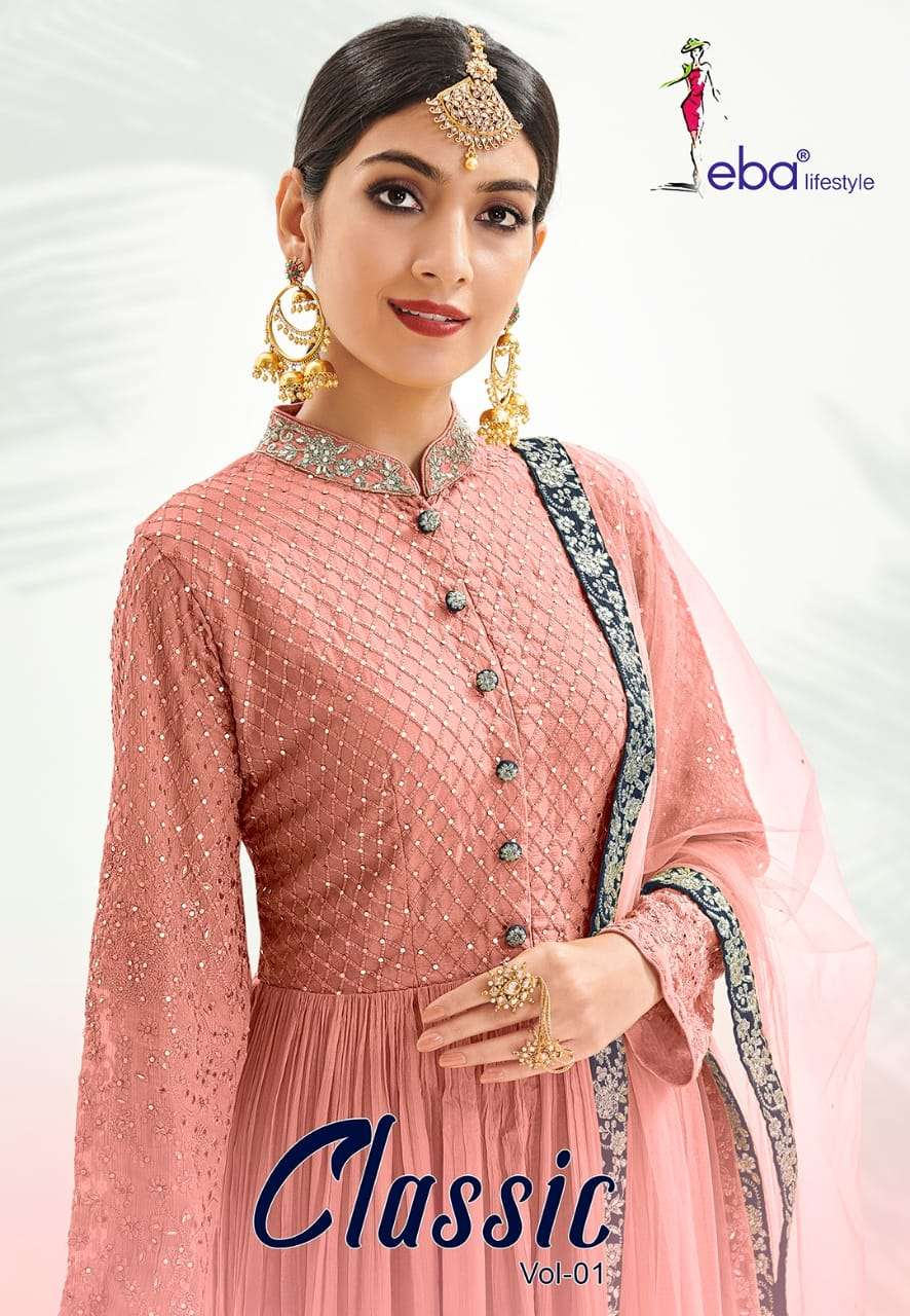 Eba Lifestyle Classic Gold Designer Party Wear Salwar Kameez Wholesaler