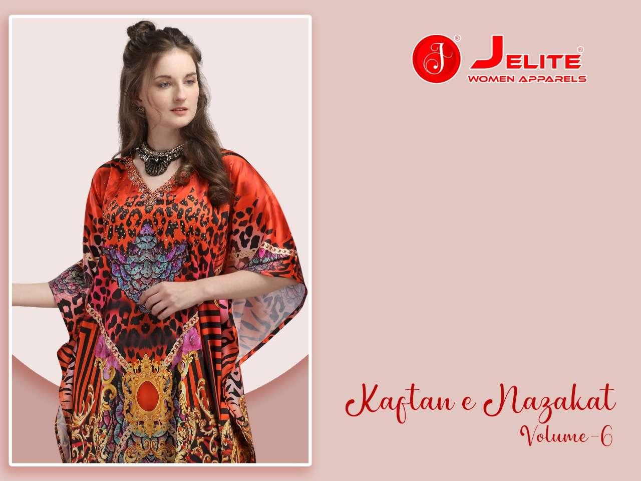 Jelite Kaftan E Nazakat Vol 6 Fancy Printed Satin For Ladies