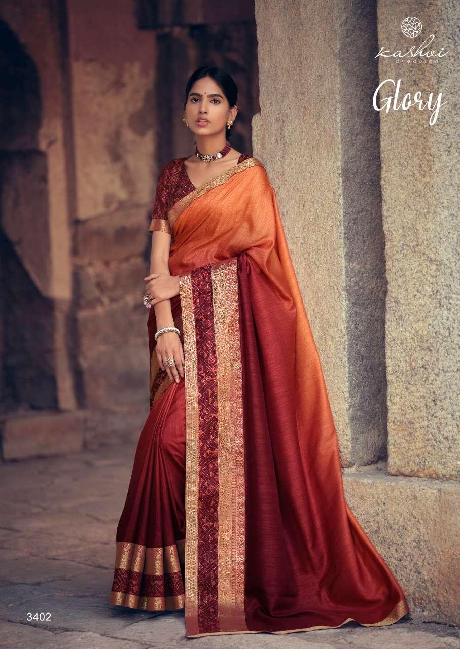 Kashvi Glory fancy Printed Vichitra Saree Catalog Dealer