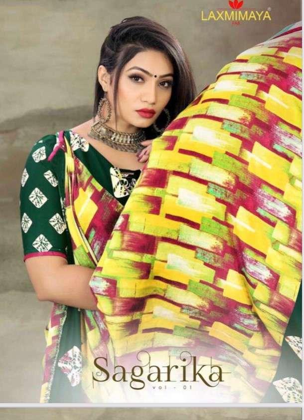 Laxmimaya Sagarika Exclusive printed Crepe Saree Collection Buy Online
