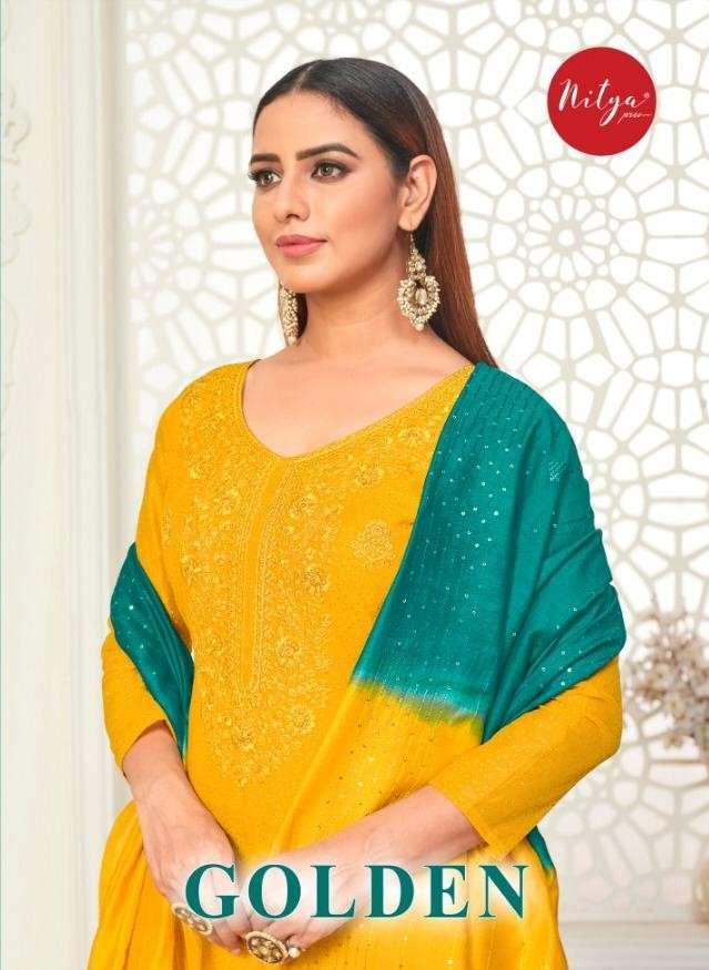LT fabrics Golden Chanderi Dress material catalog Wholesaler