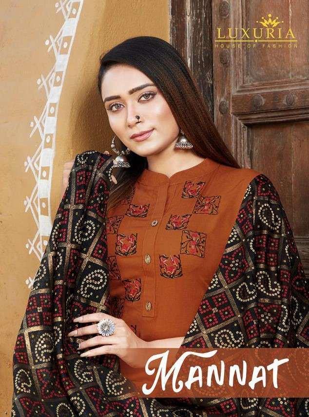 Luxuria Mannat Fancy Rayon Kurti With Dupatta Set Catalog Online