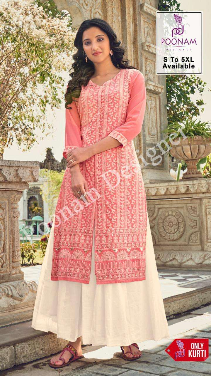 Poonam Lucknowi Work Georgette Kurti catalog Supplier