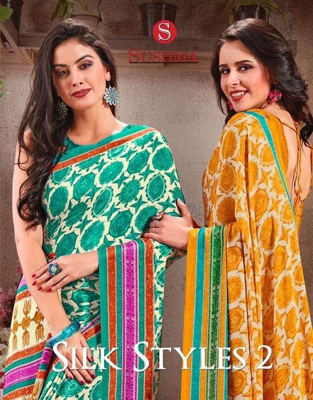 Sushma Silk Styles Vol 2 Printed Crepe Saree Catalog Wholesaler