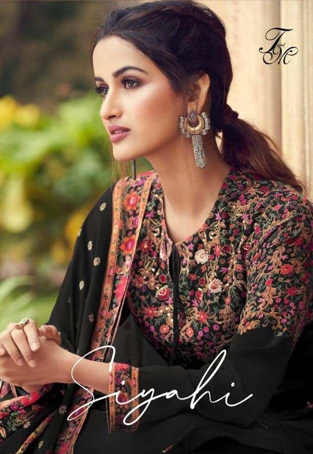 T and M designer Siyahi Digital Print Silk Salwar Suit Catalog Wholesale