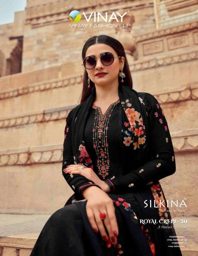 Vinay Silkina Royal Crepe Vol 30 Exclusive Crepe Suit Catalog Wholesaler