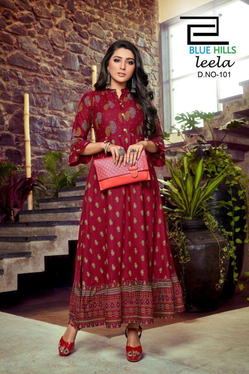 Blue Hills Leela By VF India Long Rayon Kurti Gown Collection at Best Rate