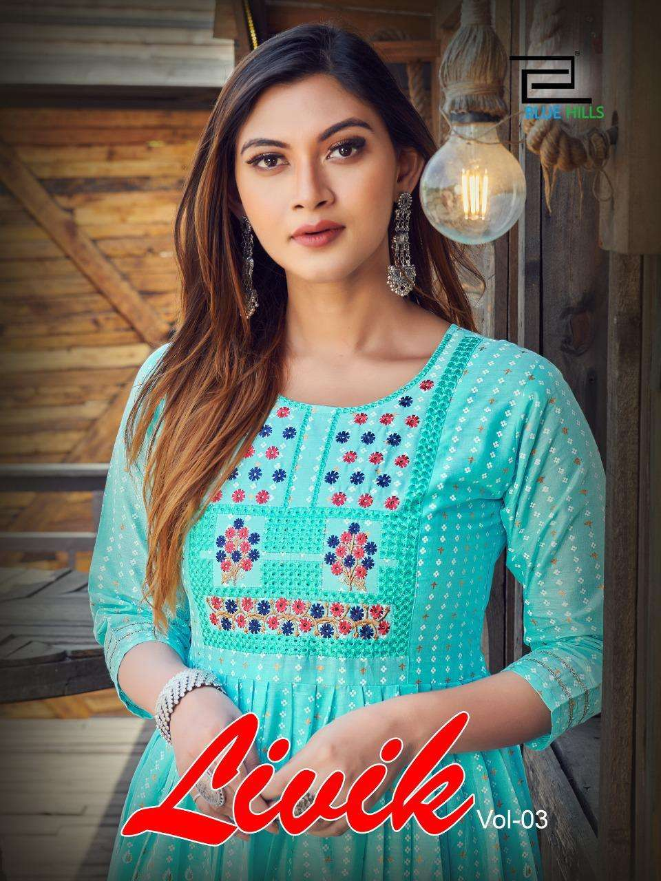 Blue Hills Livik Vol 3 By VF India Long Kurti Gown Catalog Wholesale Price