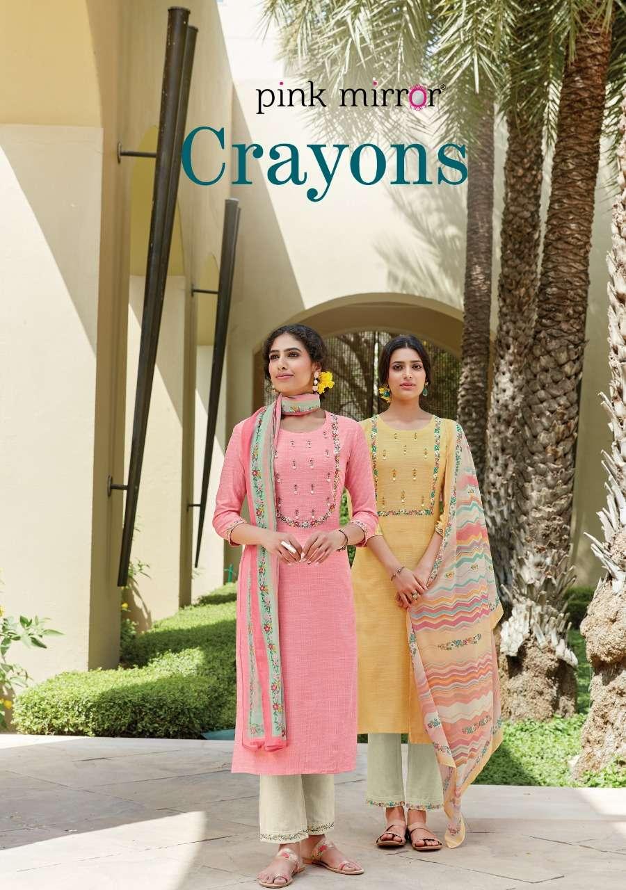 Pink Mirror Crayons Fnacy Designer Kurti Pant Dupatta catalog Supplier at Best Rate