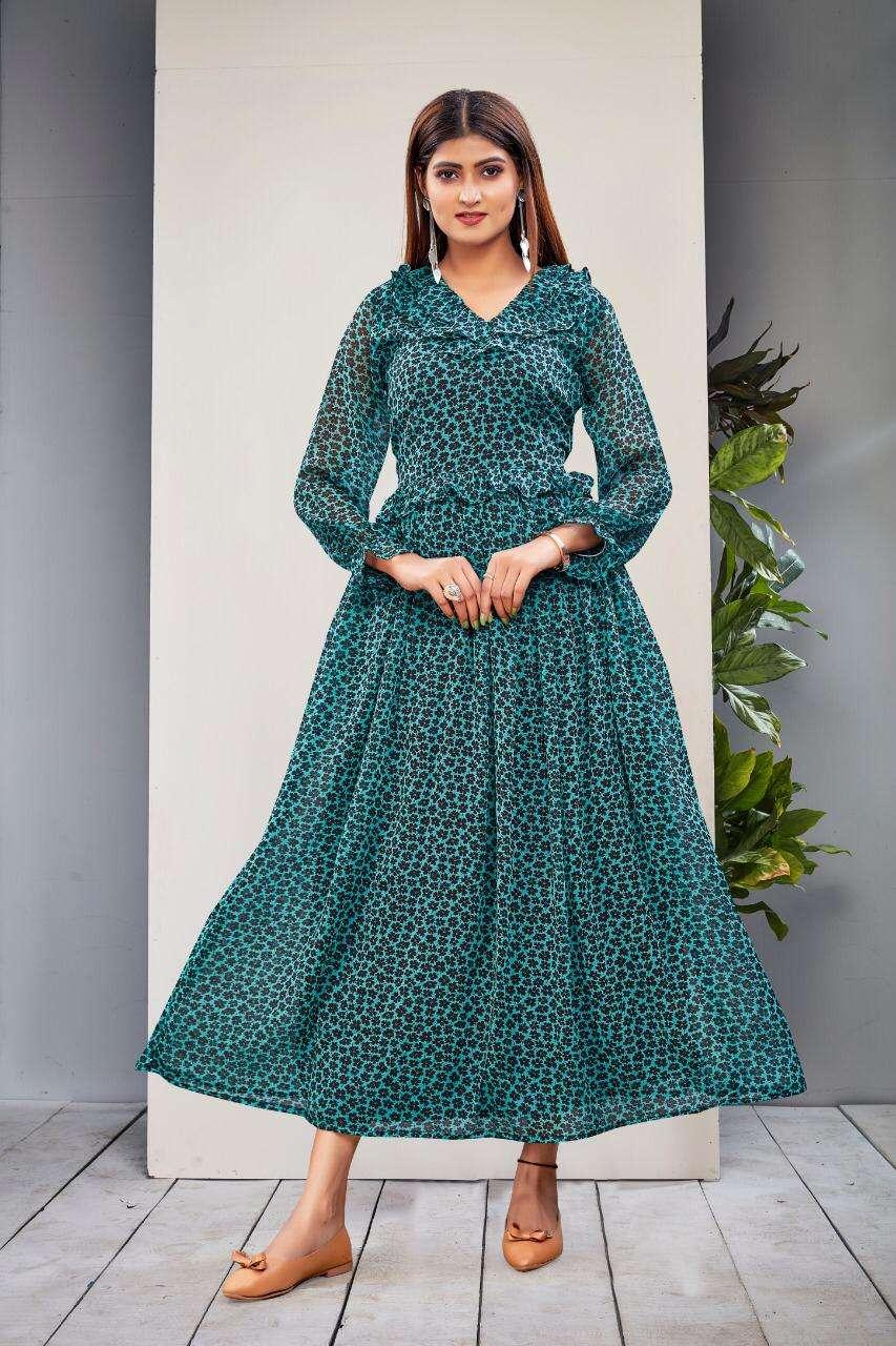 R3G Fashion Design No 010 Floral Print Modern Maxi Gown Catalog Dealer