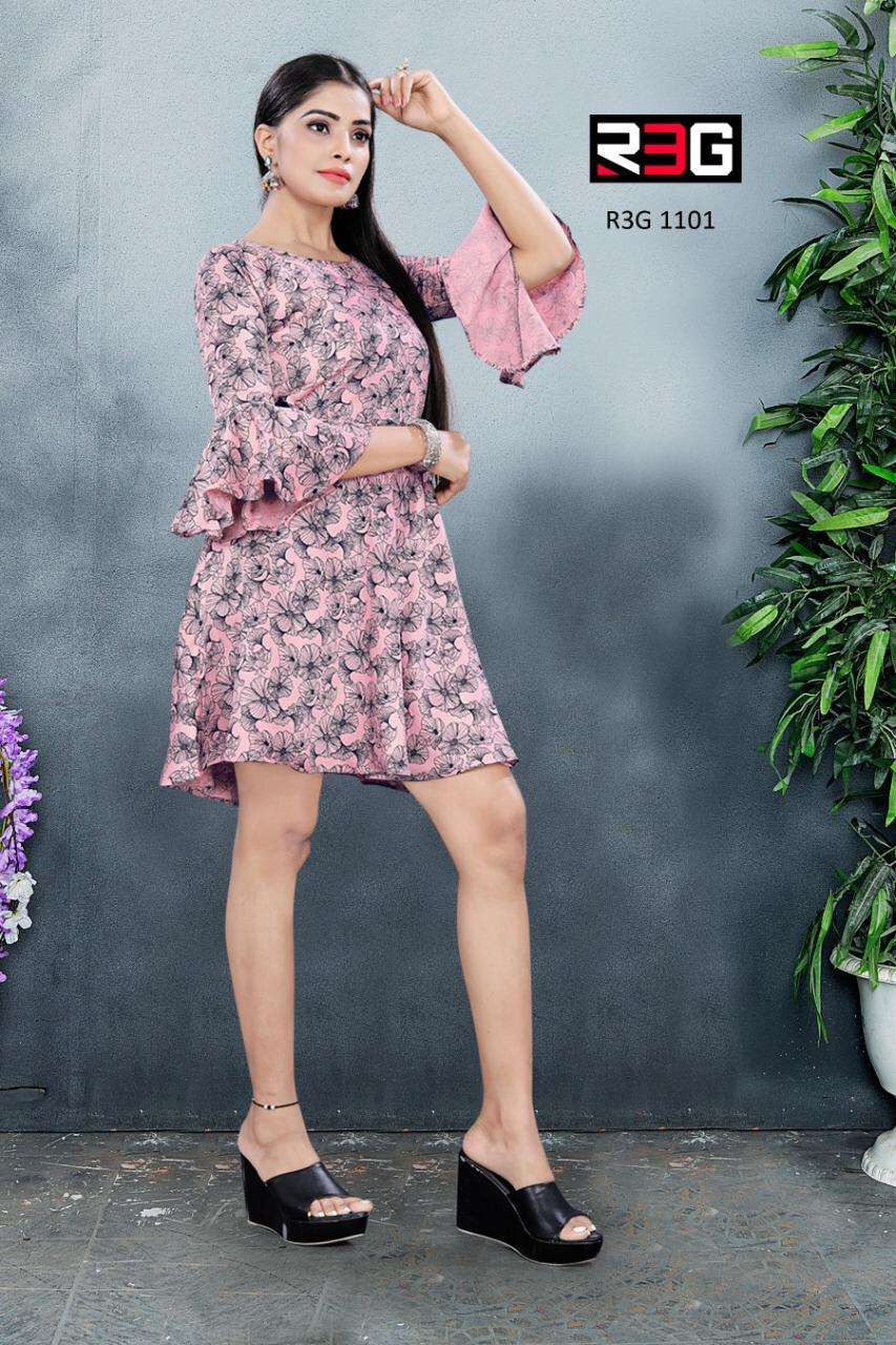 R3G Fashion Design No 011 Bell Sleeves Knee Length Tunic Catalog in Wholesale Price