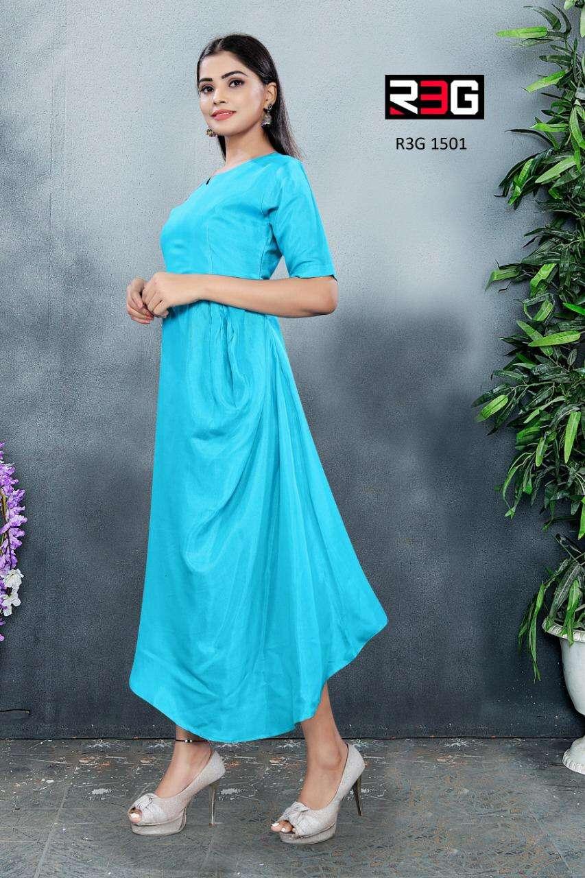 R3G Fashion Design No 015 A Line Indo Western Cotton Dress Designs