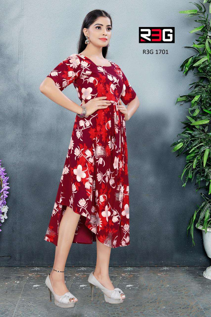 R3G Fashion design No 017 Asymmetri Maxi Dress Kurti New Designs