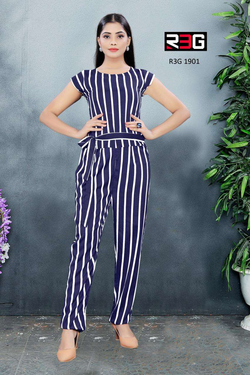 R3G fashion Design No 019 Stripes Jump Suit With Belt Western Wear