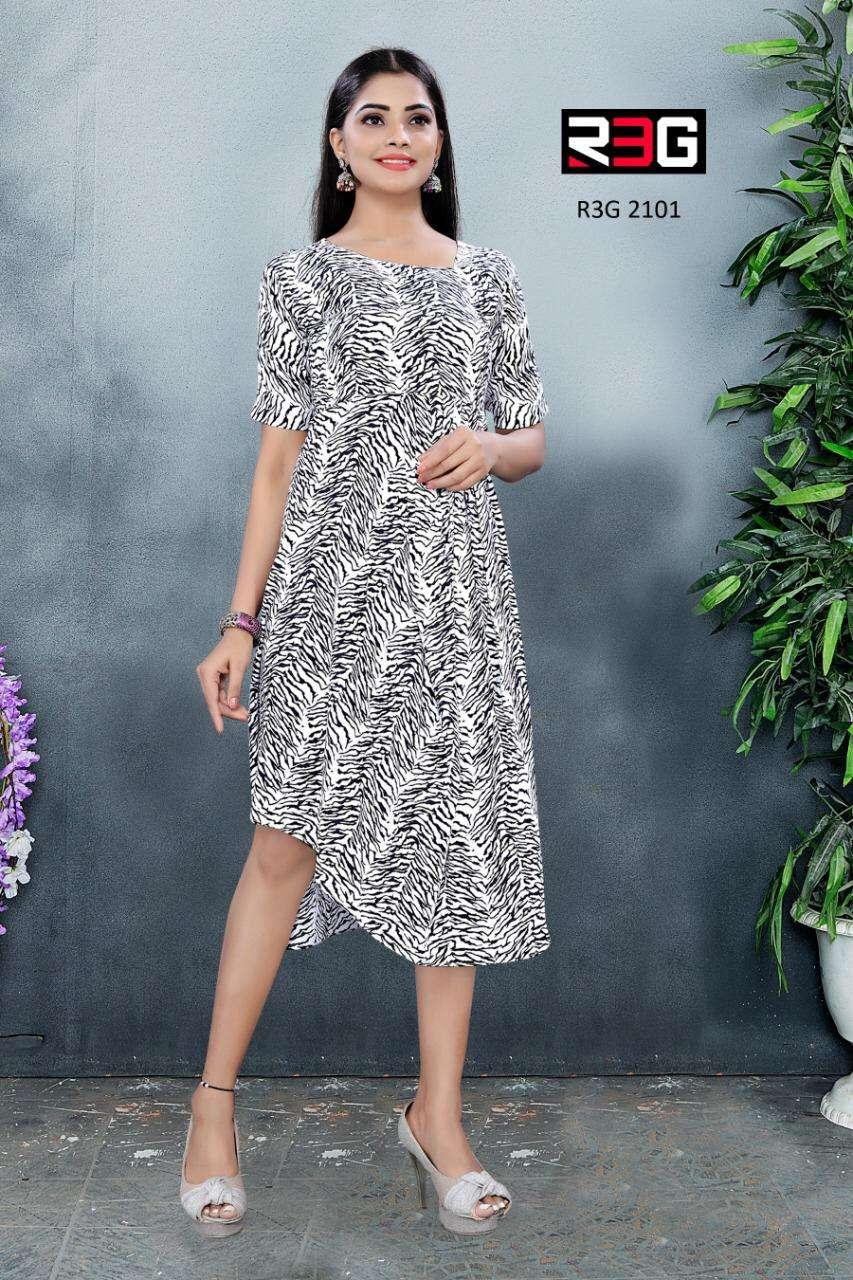 R3G Fashion Design No 021 Asymmetric Maxi Printed Crepe Dress Catalog in Wholesale