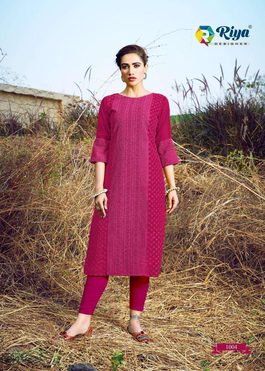 Riya Designer Shifali Georgette Kurti With Schiffli Work Catalog in Wholesale price