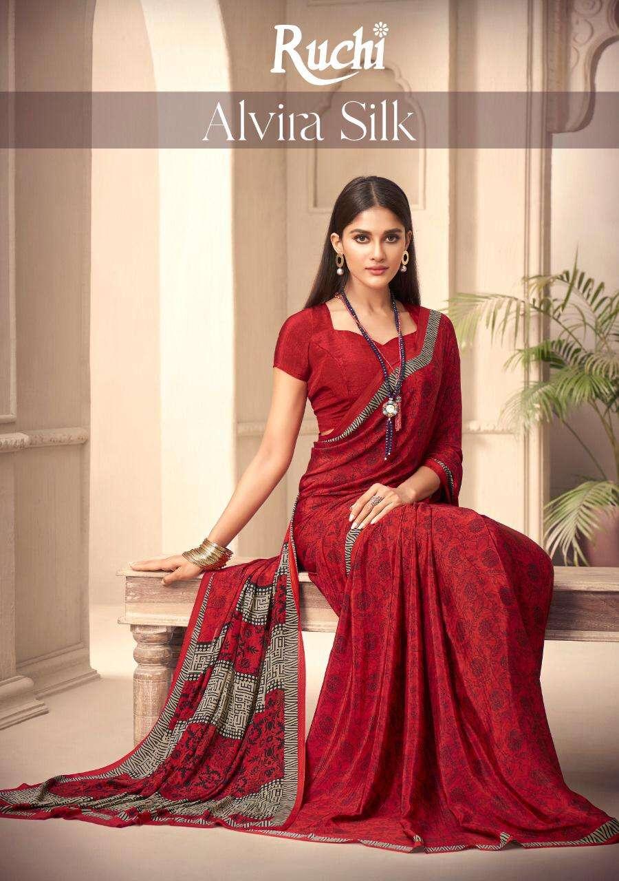 Ruchi Alvira Silk Printed Crepe Saree New Catalog Wholesale Price