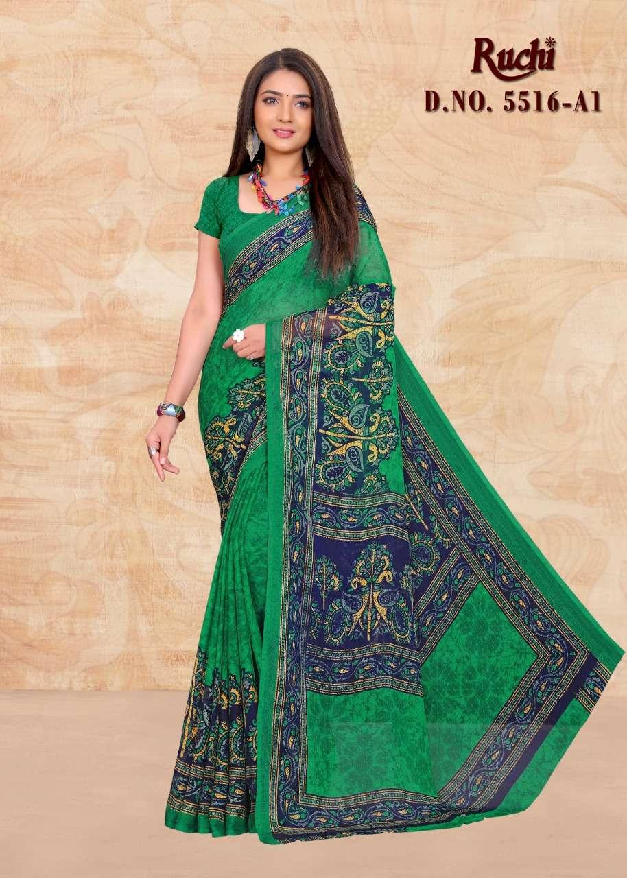 Ruchi Kesariya Chiffon 5516 Colours Batik Print Chiffon Saree Catalog at Best Rate