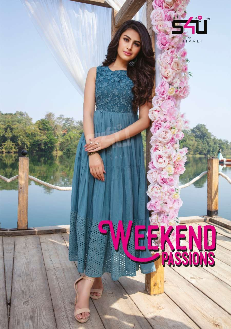 S4U Weekend Passion Vol 6 By Shivali Designer Kurti Gown New Collection