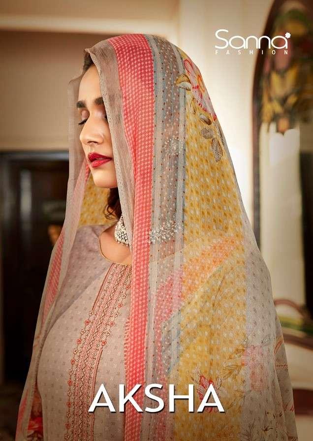 Sanna Aksha Designer Cotton ladies Suit New Catalog In Wholesale Rate