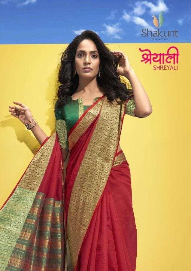 Shakunt Shreyali Weaving Silk Border Cotton Saree Catalog Supplier
