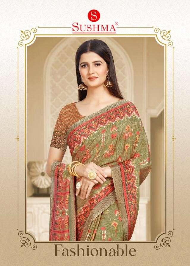 Sushma Fashionable Printed Crepe Saree New Catalog Supplier in Surat