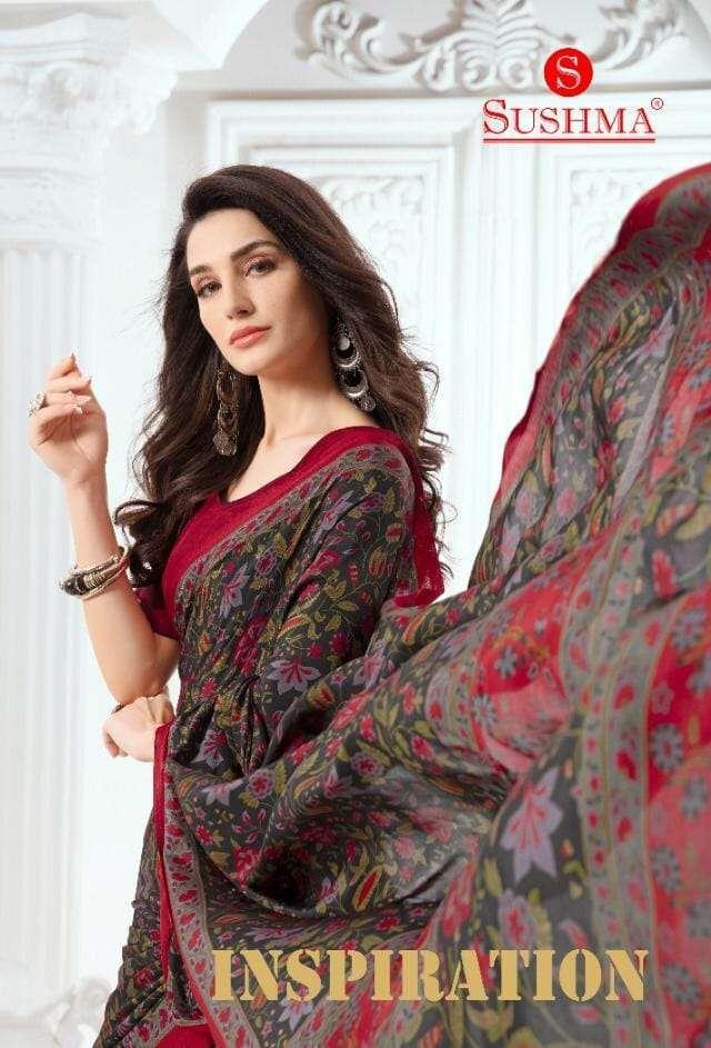 Sushma Inspiration Printed Crepe Silk Saree Catalog At Best Rate