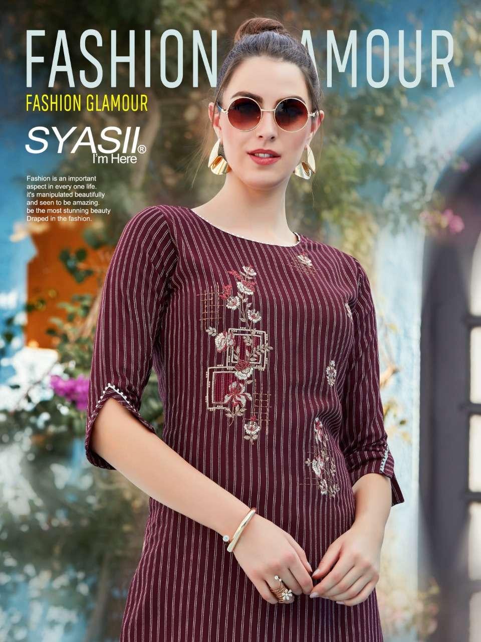 Syasii Fashion Glamour Rayon Kurti pant Set catalog Wholesaler