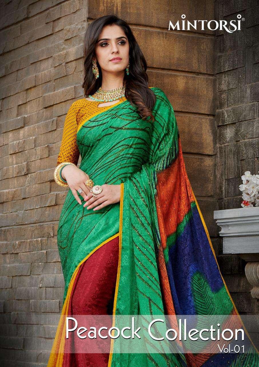 Varsiddhi Mintorsi Peacock Collection Vol 1 Crepe Silk Saree Catalog Supplier in Surat