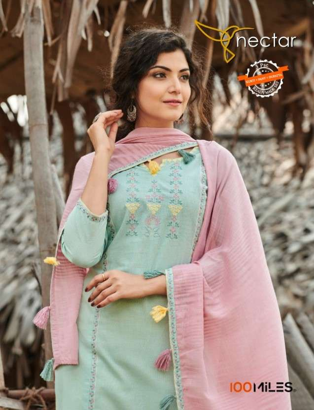 100 Miles Nectar Cotton Kurti Pant Dupatta Best Wholesale Price