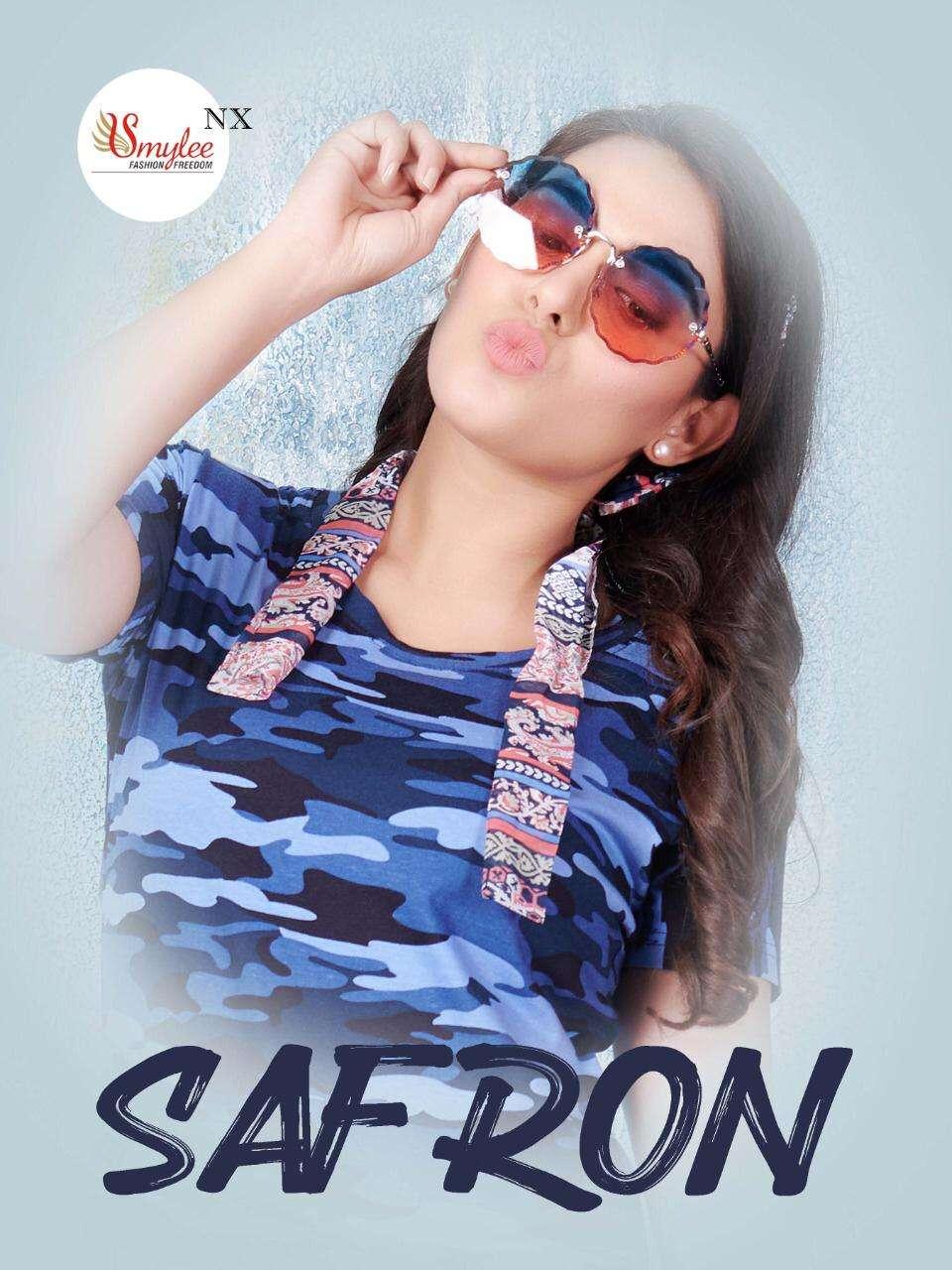 Smylee Safron Hosiery Long Printed T-Shirt For Girls In Wholesale