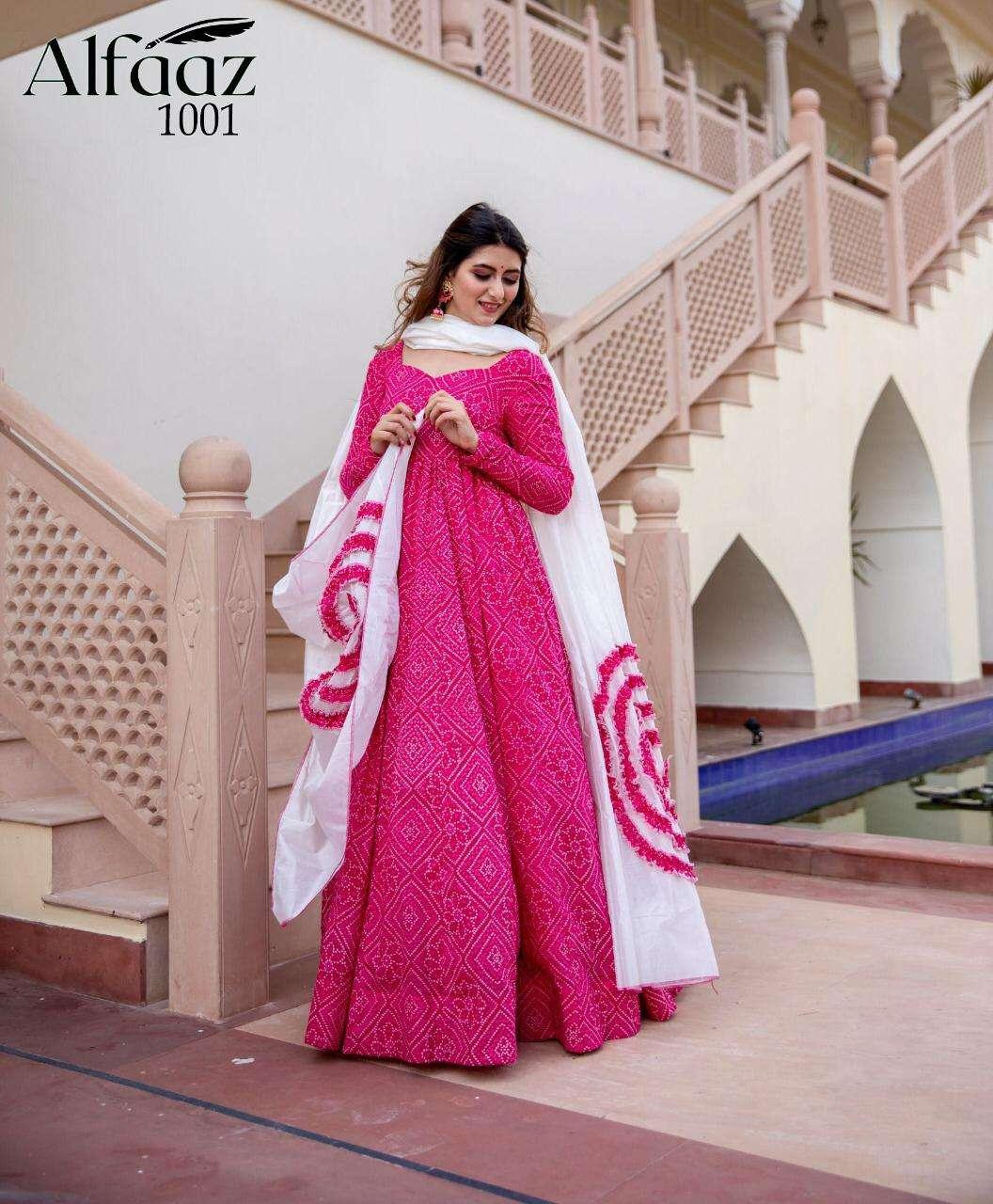 Stylishta Alfaaz Bandhej Style Flaired Gown With Dupatta Catalog Wholesale Price