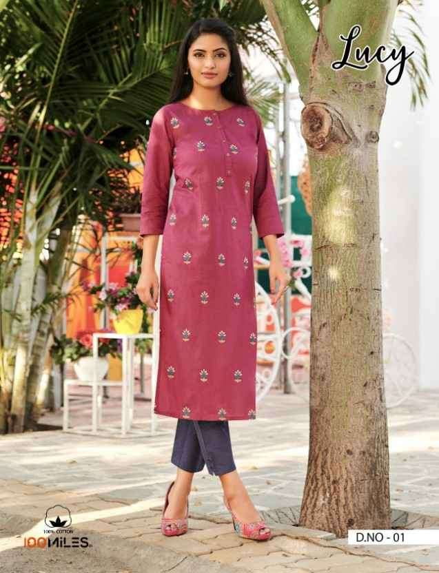 100 Miles Lucy Daily Wear Cotton Kurti catalog in Wholesale price