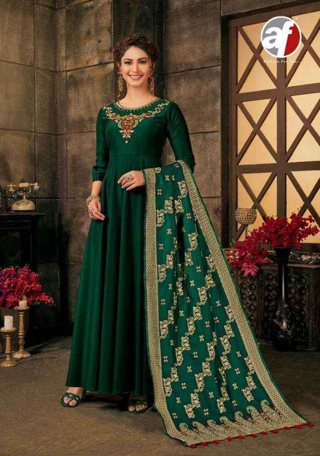 Af Stock Out Haseen Pal Vol 7 By Anju Fabric Anarkali Dress With Dupatta Catalog Supplier