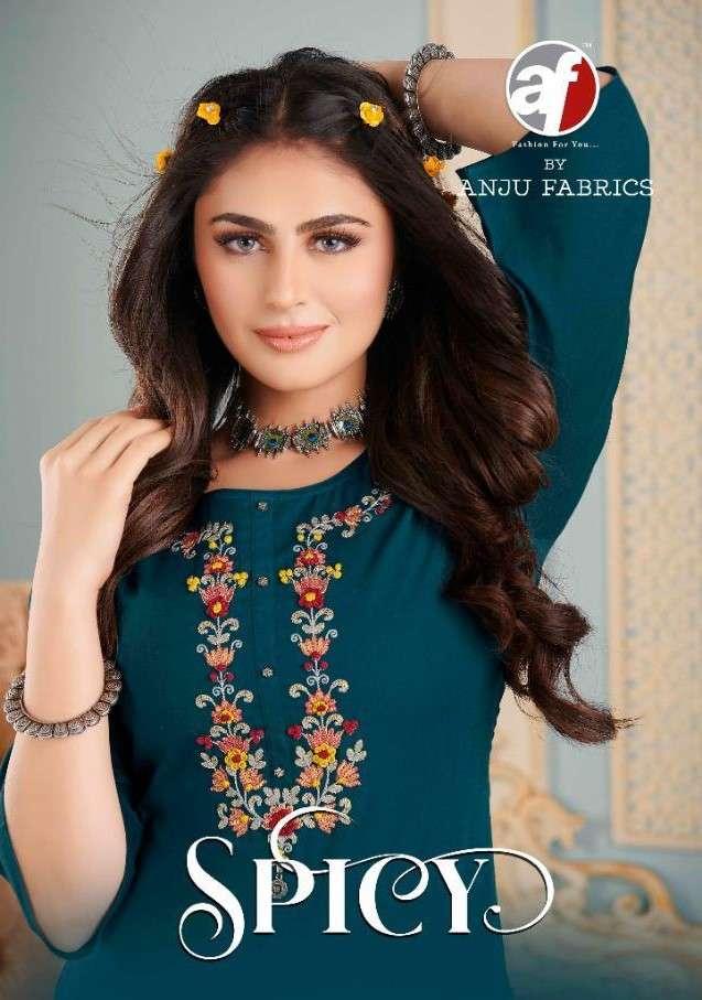 Anju Fabrics Spicy Pure Cotton Kurti With Sharara Style Collection