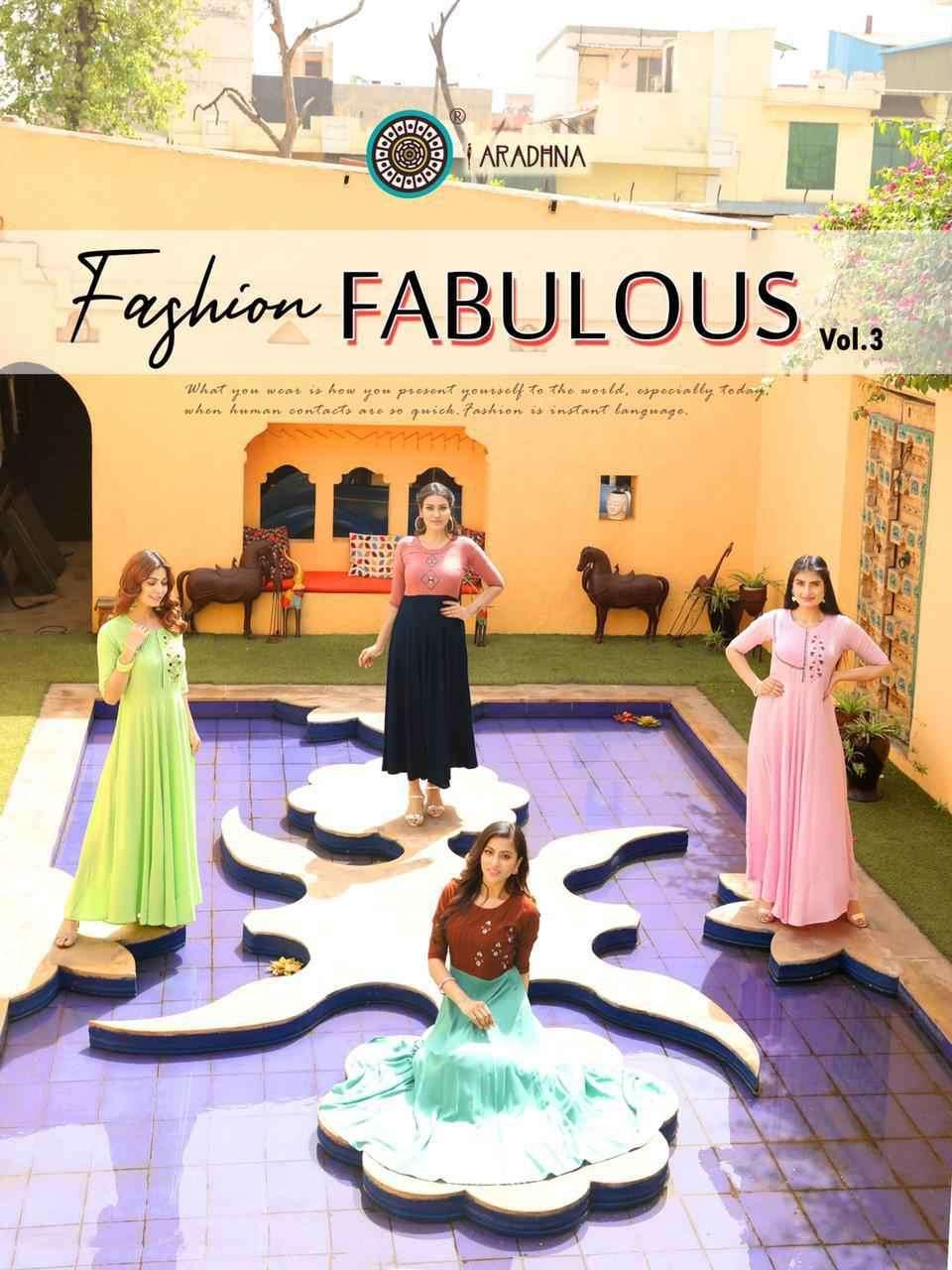 Aradhna Fashion Fabulous Vol 3 Fancy Long Kurti Gown Catalog Supplier