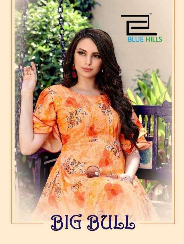 Blue Hills Big Bull Vol 1 By VF India Digital Print Chiffon Kurti Gown Collection