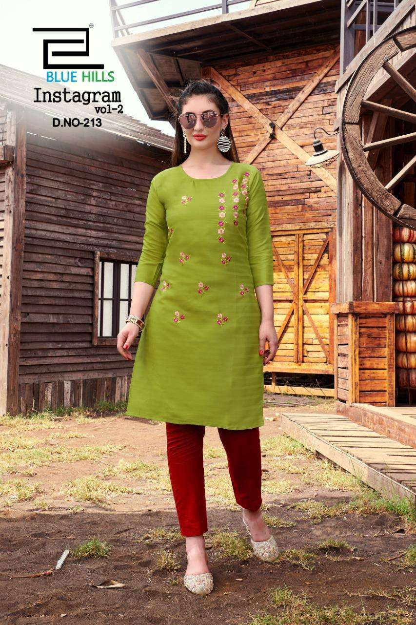 Blue Hills Instagram vol 2 Cotton Kurti With Embroidery Work Catalogue