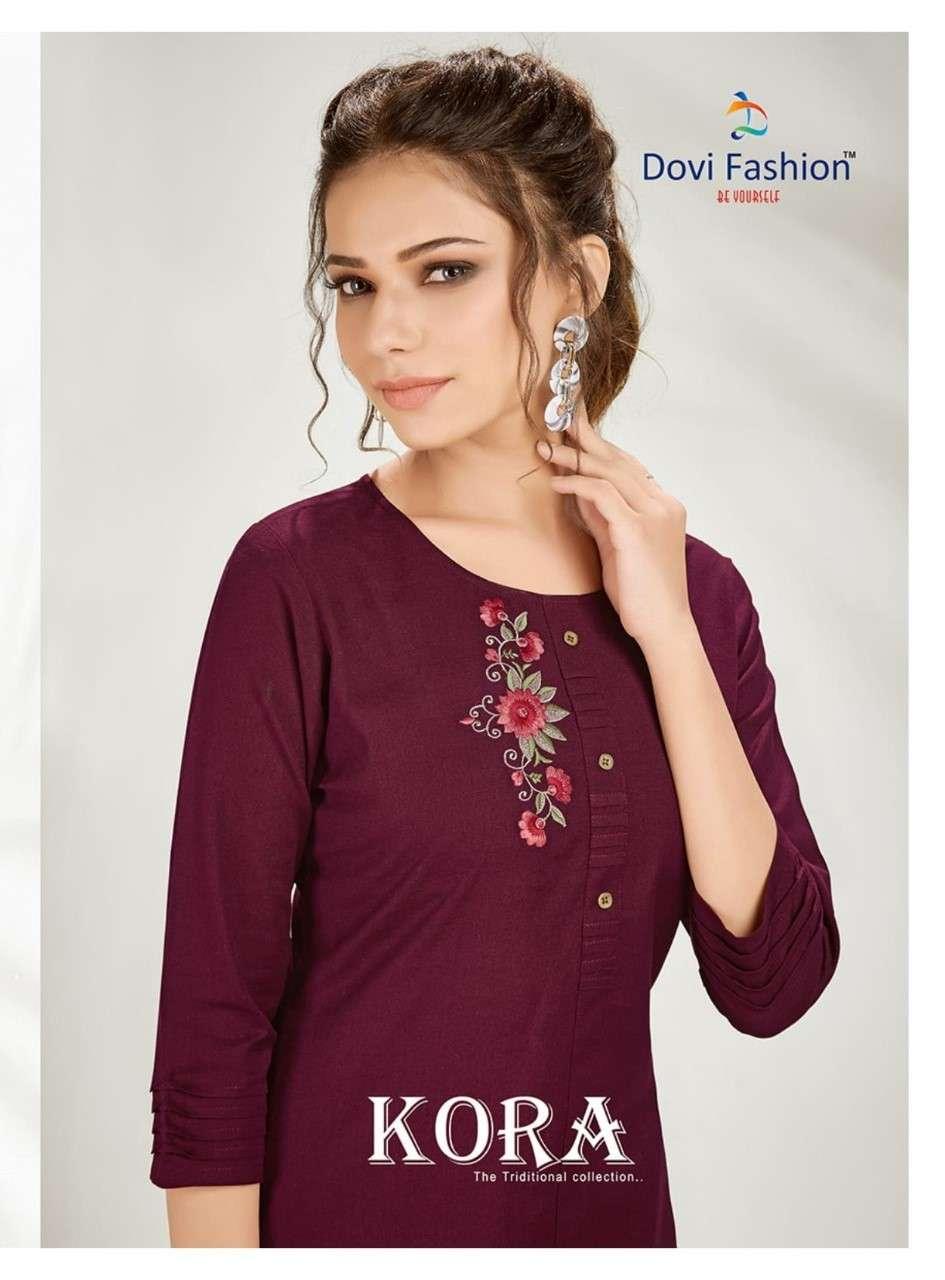 Dovi Fashion Kora Premium Cotton Kurti With Pants Catalog Online