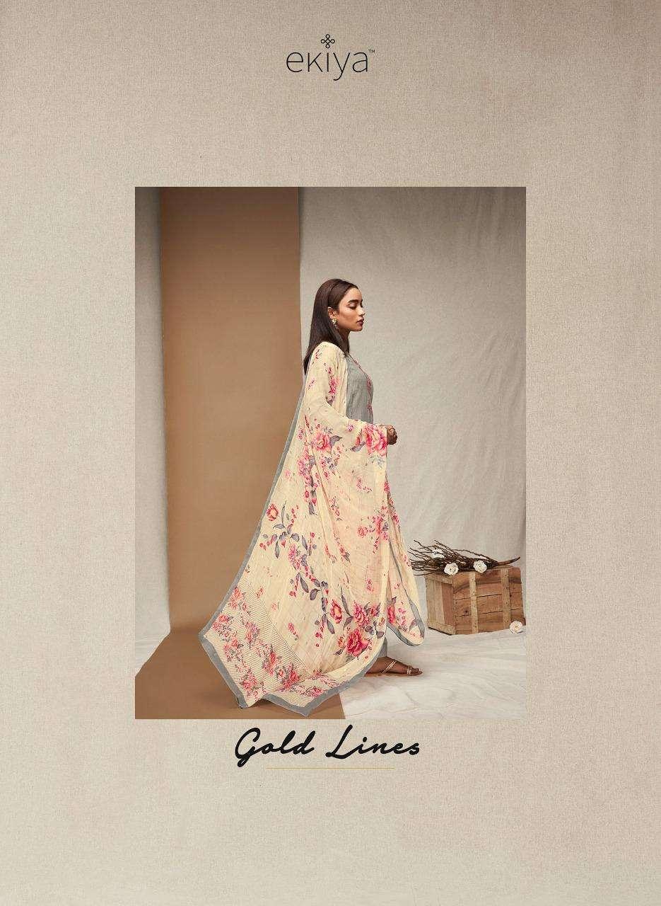 Ekiya Gold Lines By Ganga Fashion Cotton Jacquards Suits Dealer Surat